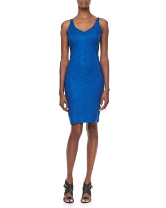 Snakeskin Jacquard Sleeveless V-Neck Party Dress, Blue