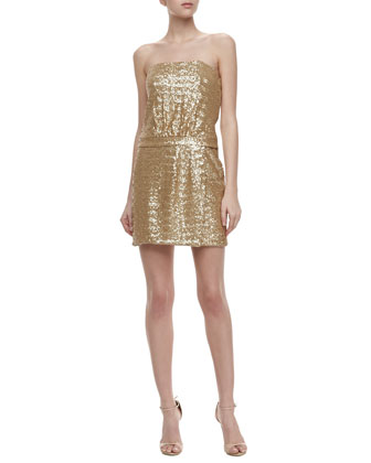 Strapless Sequin Dress, Gold