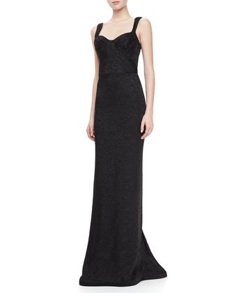 Embroidered Sweetheart Sleeveless Gown, Black