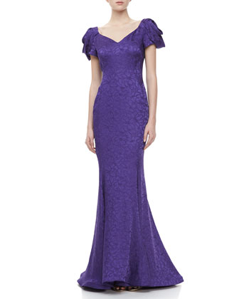 Ruched Cap-Sleeve Fishtail Gown, Violet