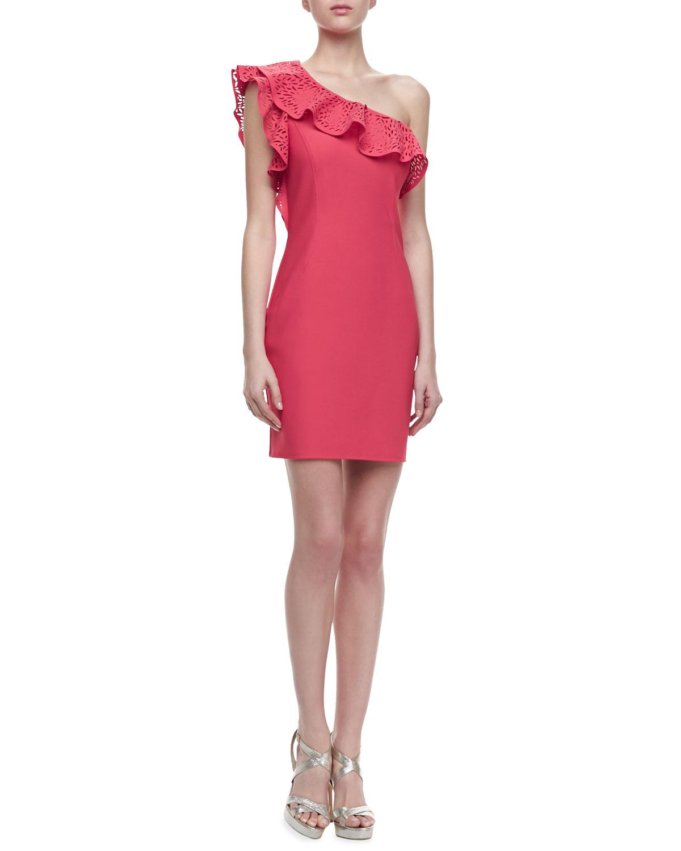 Womens One Shoulder Cutout Ruffle Dress   Laundry by Shelli Segal
