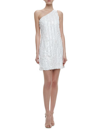 One-Shoulder Sequin Dress, Warm White