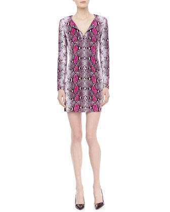 Reina Long-Sleeve Python Pop Dress
