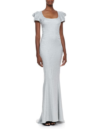 Short Sleeve Scoop Neck Gown, Silver Reptile
