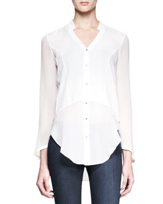 Lawn Sheer-Panel Shirt and Wren Pull-On Legging Jeans
