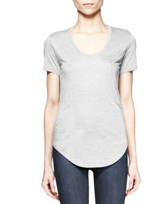 Villous Asymmetric-Zip Sweatshirt and Kinetic Short-Sleeve Tee