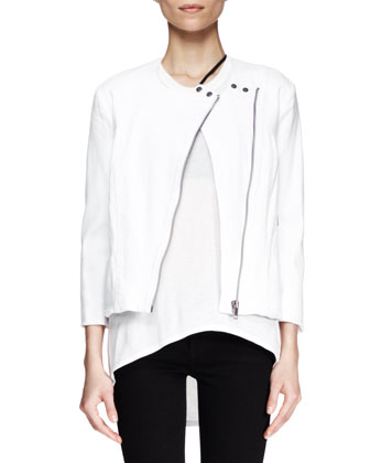 Denim Moto Jacket, White