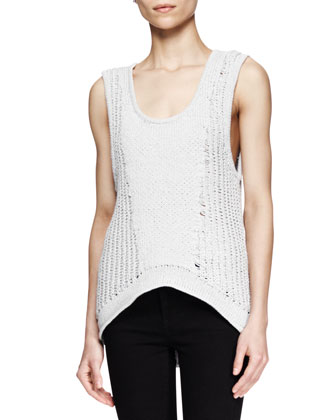 Sleeveless Arced Knit Top