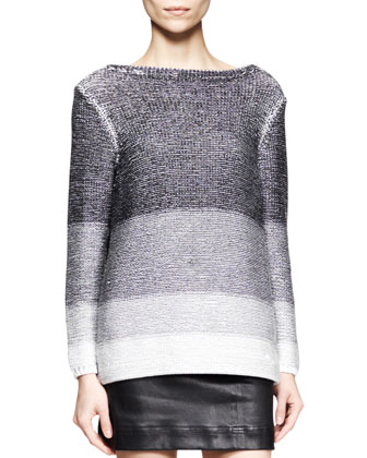 Plaited Degrade Knit Sweater
