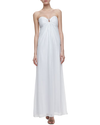 Horseshoe-Neck Chiffon Gown, Optic White