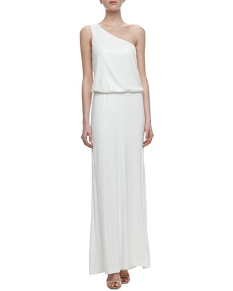 One-Shoulder Blouson Sequin Gown, Pearl