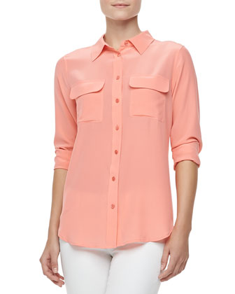 Slim Signature Silk Blouse, Shell Pink