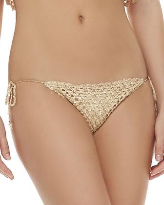 Marque Bandeau Flutter Swim Top & Hyper Shimmery Tie-Side Bottom