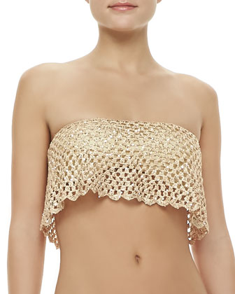 Marque Bandeau Flutter Swim Top & Hyper Shimmery Tie-Side Bottom