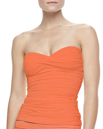 Mediterranean Solids Bandeau Tankini Top & Ruched Bottom