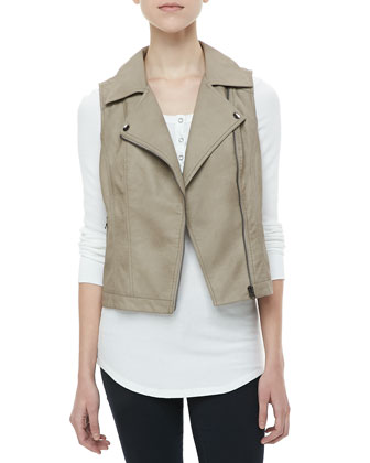 Faux-Leather Zip Vest