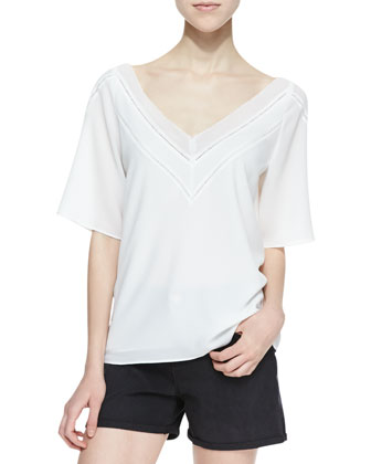 Jessica Chiffon Cutout-Trim Blouse, White