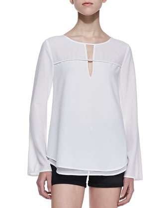Taylor Layered-Hem Tunic Blouse