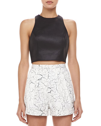 Soul Fire Faux-Leather Crop Top