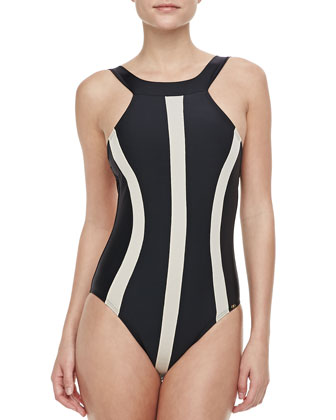 Svelte One-piece Swimsuit, Black & Taupe