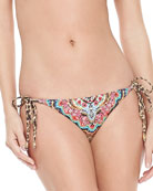 Embroidered Tie-Side Swim Bottom