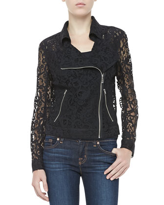 Lace Long-Sleeve Zip Moto Jacket