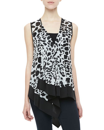 Animal-Print Handkerchief Top