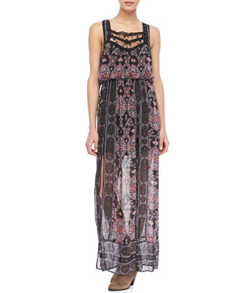 Printed Lace-Trim Maxi Dress