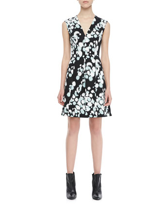 Sleeveless Printed Paneled Dress