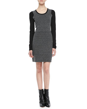 Olivia Long-Sleeve Combo Dress