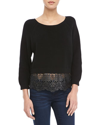 Irene Lace-Hem Knit Sweater