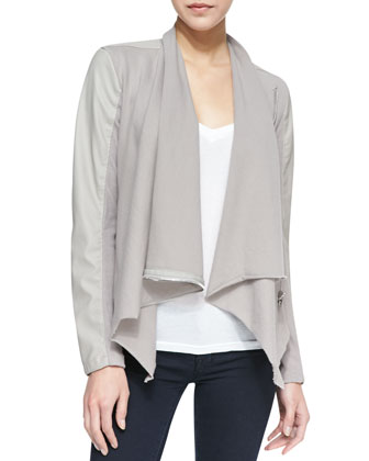 Private Practice Faux-Leather/Ponte Jacket, Taupe