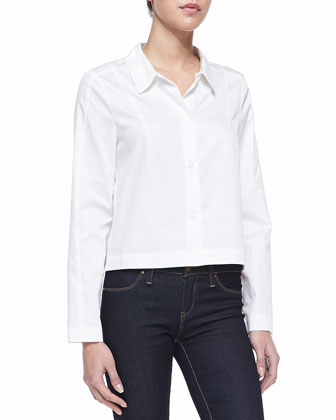 Summer Fresh Button-Down Blouse, Winter White