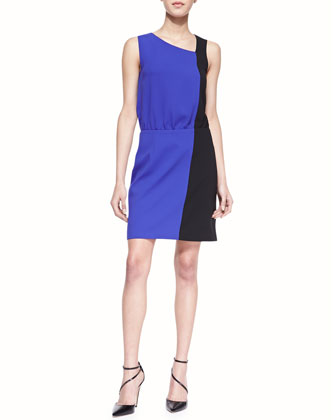 Sleeveless Colorblock Crepe Dress