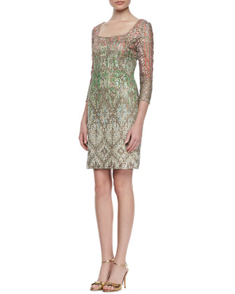 3/4-Sleeve Ombre Lace Cocktail Dress