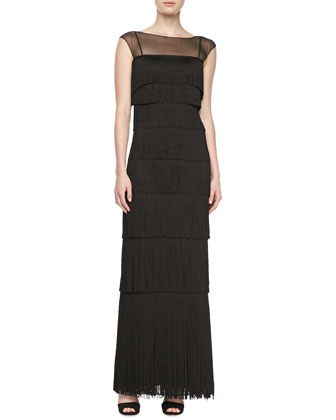 Sleeveless Illusion Fringe Gown