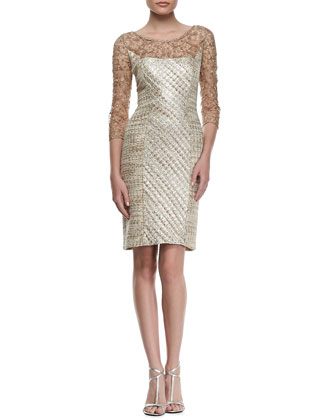 3/4-Sleeve Lace & Tweed Cocktail Dress