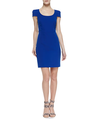 Cap-Sleeve Crepe Cocktail Dress, Deep Blue