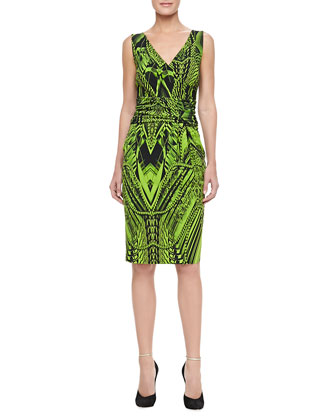 Sleeveless Print Step-In Cocktail Dress