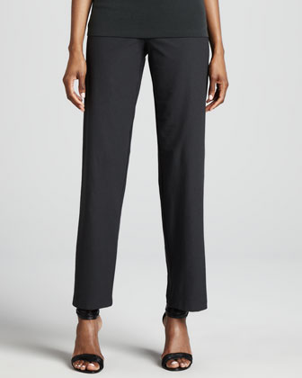Washable-Crepe Straight-Leg Pants, Graphite