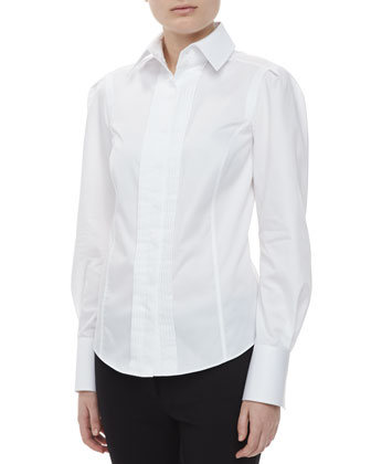 Long Sleeve Pintuck Shirt, White