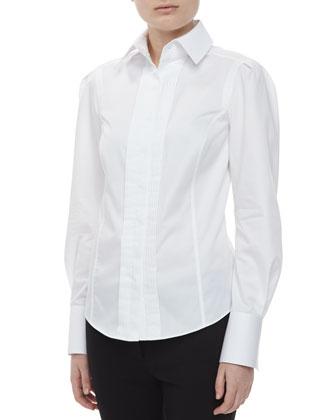 Long Sleeve Pintuck Shirt, White