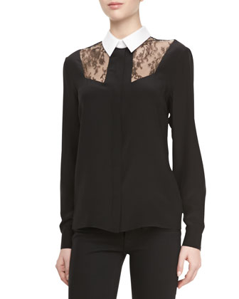Silk Lace Combo Button-Down Blouse