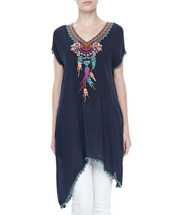 Sweet Dreams Embroidered Georgette Tunic & Blue Springs Printed Scarf, Women's
