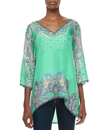 3/4-Sleeve Printed V-Neck Tunic, Women's