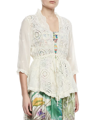 Vivienne Lacey Cover Up Jacket & Blue Springs Printed Silk Dress, Women's ...