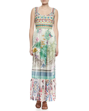 Blue Springs Printed Silk Maxi Dress