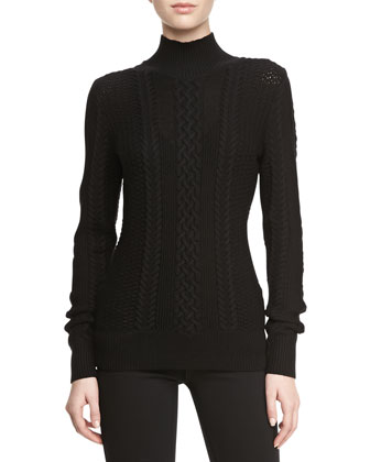 Long-Sleeve Cable-Knit Turtleneck Sweater