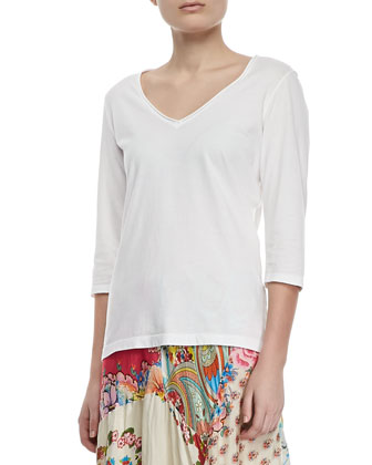 3/4-Sleeve V-Neck Tee, Women's