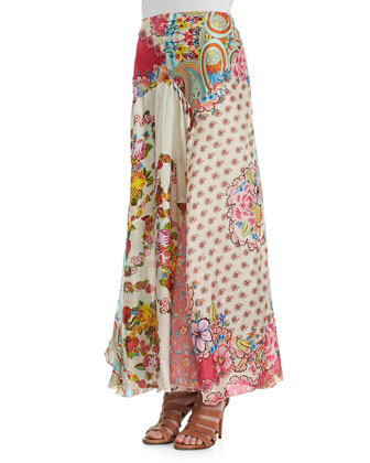 3/4-Sleeve V-Neck Tee & Georgette Mixed Floral-Print Maxi Skirt, Women's